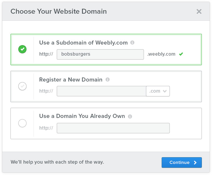 Pick a Domain Name Weebly