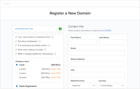 Domains and Registration
