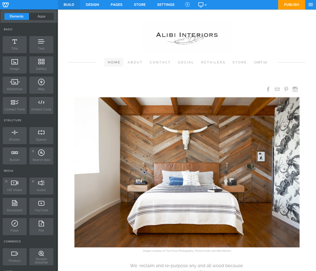 Features Website Builder - Alibi Interiors